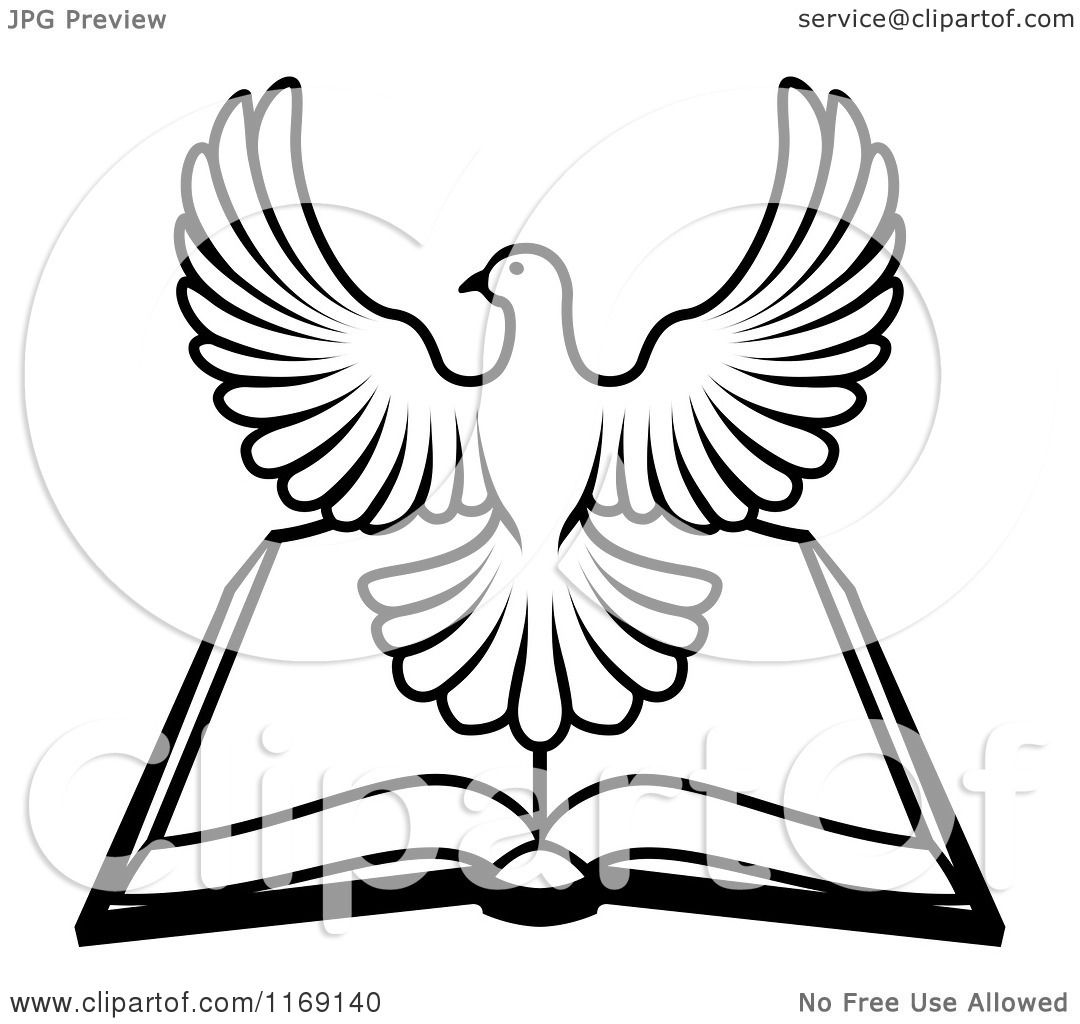 1080x1024 Clipart Of A Black And White Holy Spirit Dove Over An Open Bible