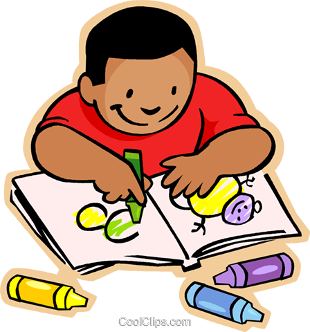 448x480 Little Boy With Crayons And Coloring Book Royalty Free Vector Clip