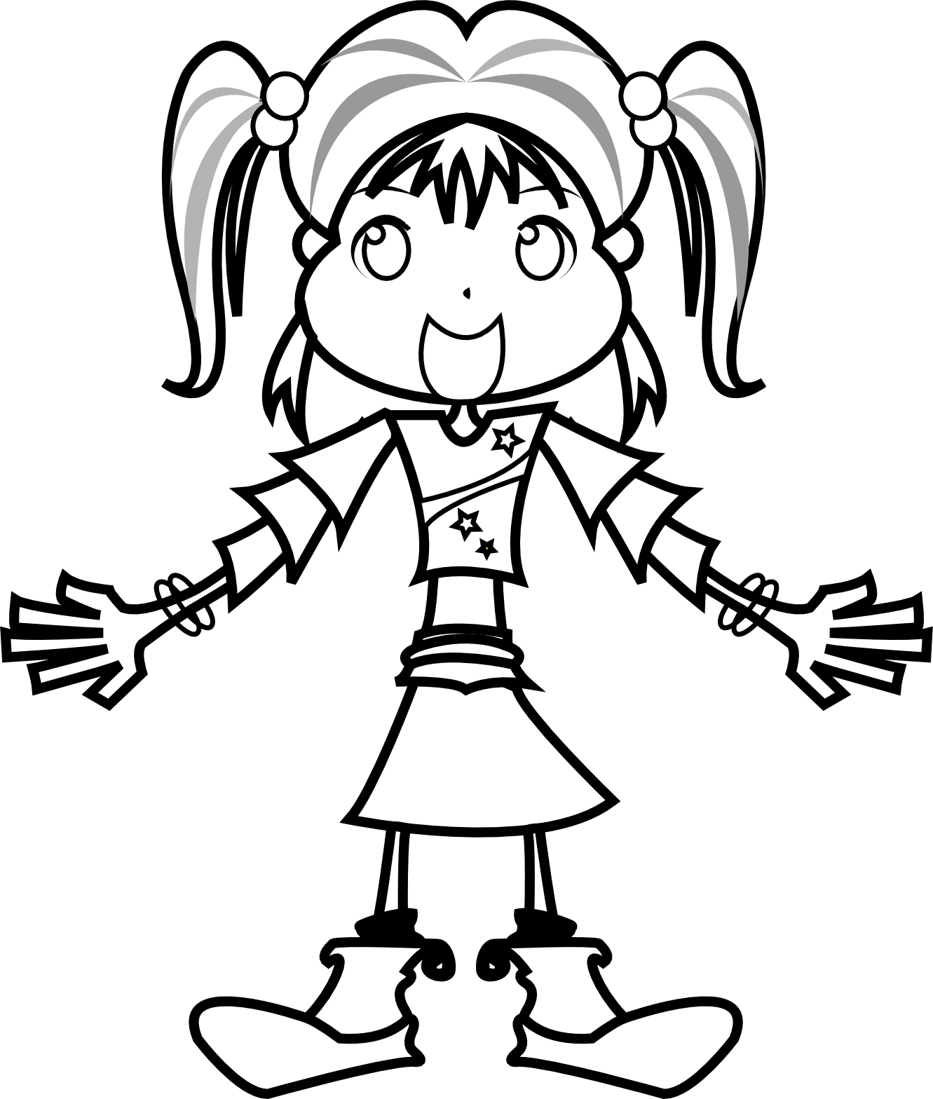 1331x1568 Girl Clipart Black And White