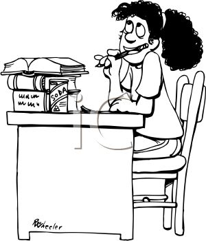 300x350 Black And White Cartoon Of Schoolgirl Doing Homework Royalty Free