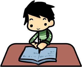 340x278 Kid Writing Clip Art