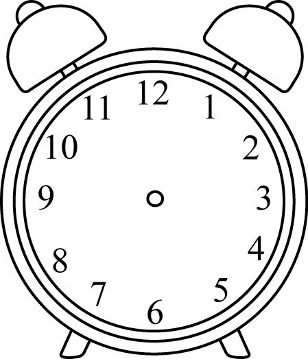 449x524 Alarm Clock Template Black And White Alarm Clock Without Hands