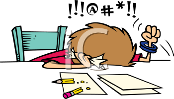 350x199 Royalty Free Clipart Image Of A Frustrated Person Doing Taxes