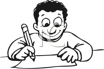 350x234 Royalty Free Clip Art Image Child Enthused About Writing A Letter