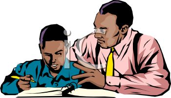 350x202 Royalty Free Clipart Image African American Dad Helping His Son