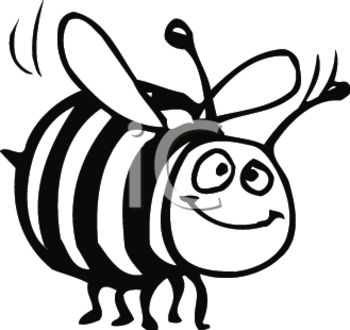 350x330 Cartoon Honeybee In Black And White