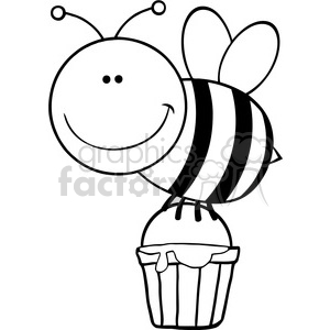 300x300 Royalty Free 5601 Royalty Free Clip Art Smiling Bee Flying With A