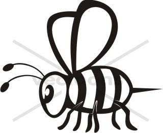 320x262 Walking Bee in Black and White