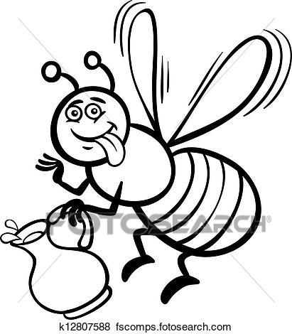 411x470 Clip Art Of Honey Bee Cartoon For Coloring Book K12807588