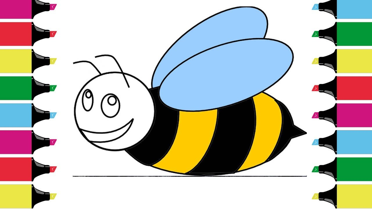1280x720 Coloring For Children Honeybee How To Draw Drawing And Art