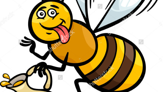 570x320 Honey Bee Drawing Cartoon Illustration Funny Pot
