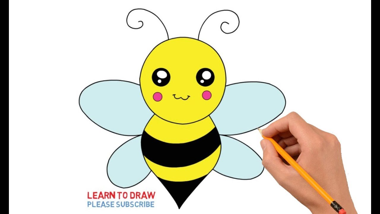 1280x720 How To Draw A Cute Honey Bee Step By Step Easy For Kids
