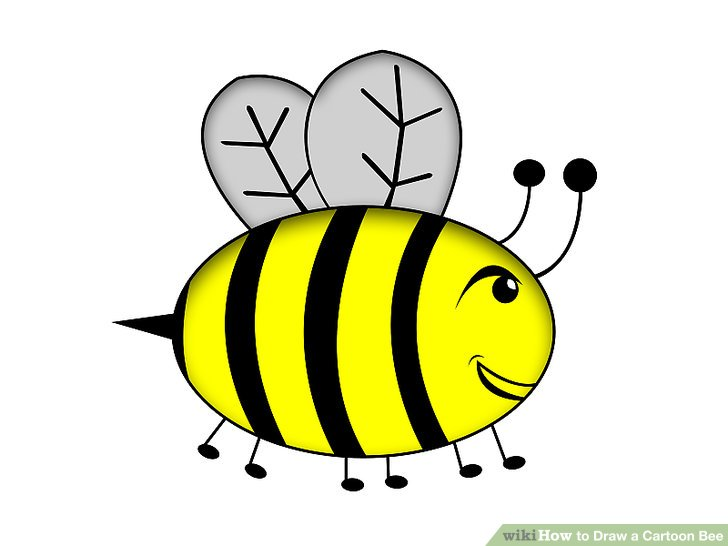 728x546 How To Draw A Cartoon Bee 4 Steps (With Pictures)