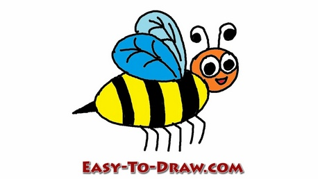 458x258 How Draw A Cartoon Honey Bee For Kids Easy