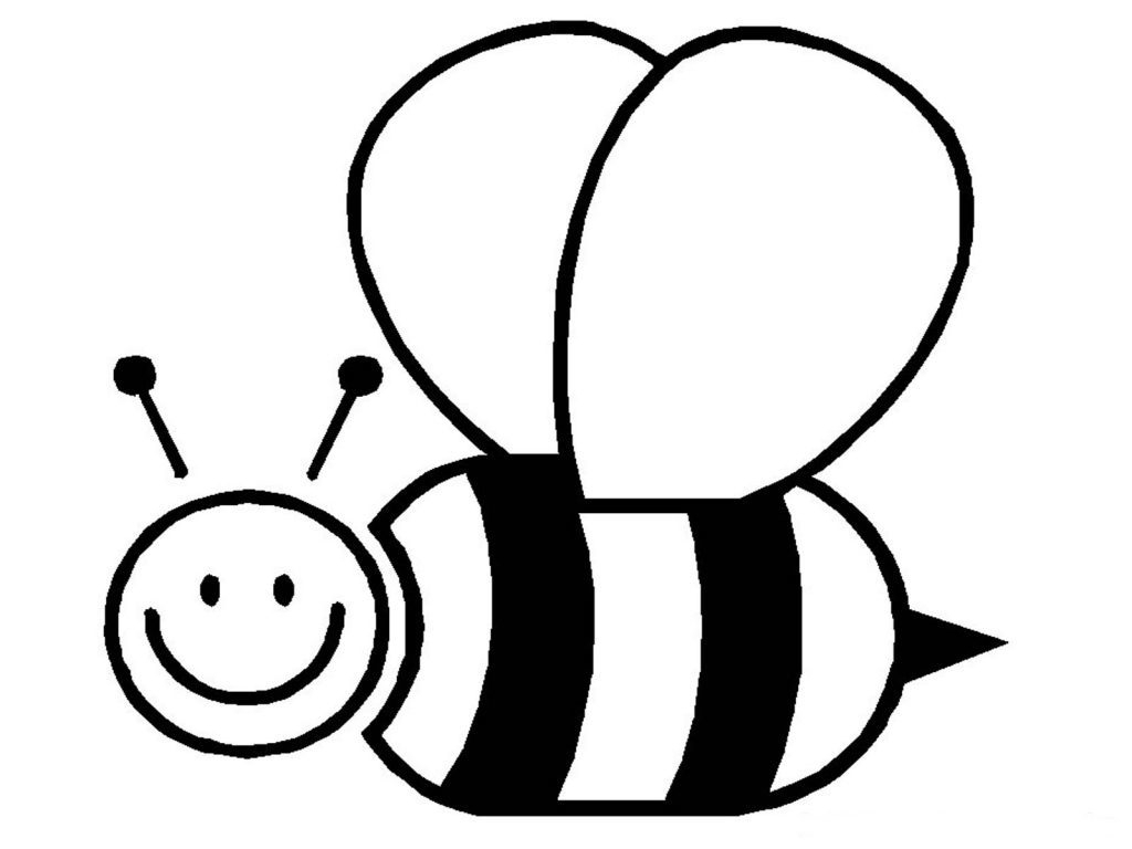 1024x768 Simple Bumble Bee Drawing Honey Bee Coloring Book. Honey. Free