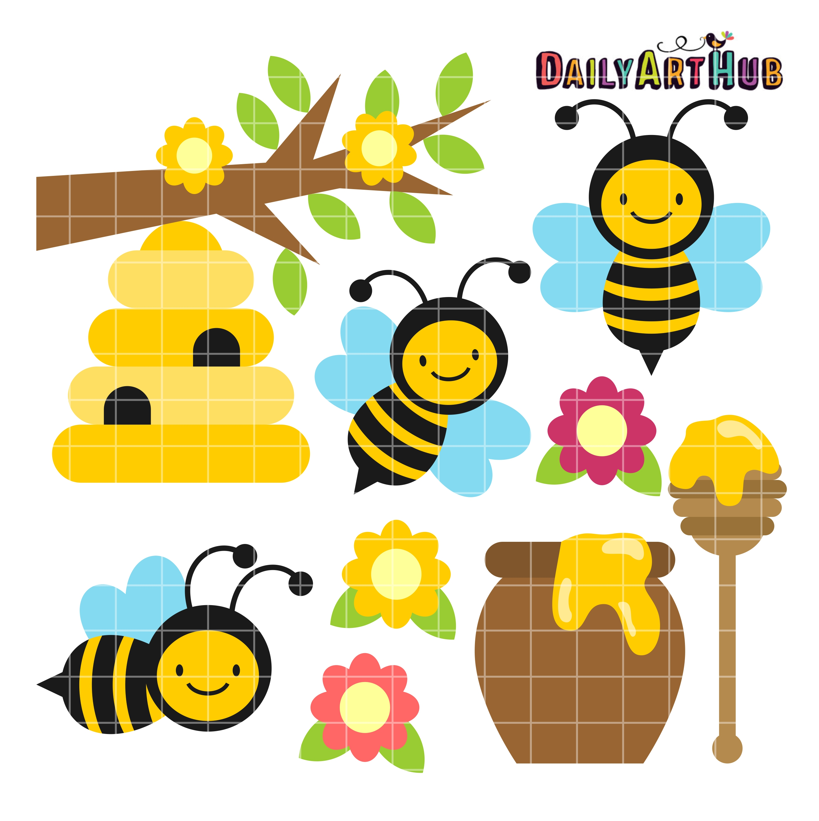 2664x2670 Happy Honey Bees Clip Art Set Daily Art Hub