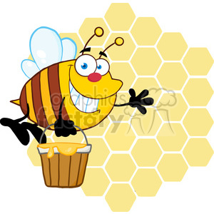 300x300 Royalty Free 5580 Royalty Free Cliprt Smiling Bee Flying