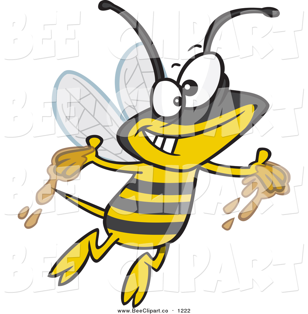 1024x1044 Cartoon Vector Clip Art Of A Gleeful Bee With Honey On His Hands