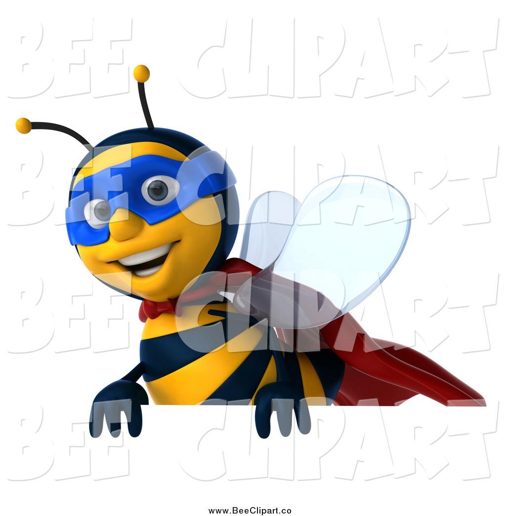 1024x1044 Clip Art Of A 3d Super Hero Honey Bee Above A Sign By Julos