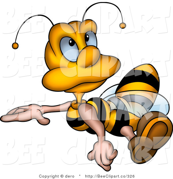 600x620 Clip Art Of A Little Honey Bee Drone Flying And Looking Upwards By