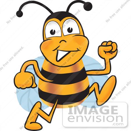 450x450 Clip Art Graphic Of A Honey Bee Cartoon Character Running