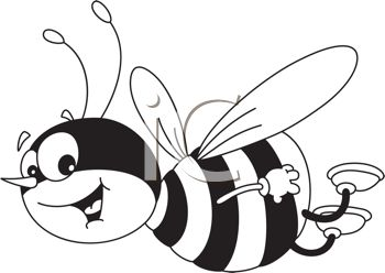 350x248 Picture Of A Honeybee Flying Through The Air Smiling In A Vector