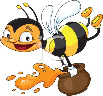 350x326 Picture Of Happy Honeybee Flyingnd Holding Jar Of Honey In