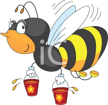 350x339 Picture Of A Honeybee Flying With Two Buckets Of Honey In A Vector