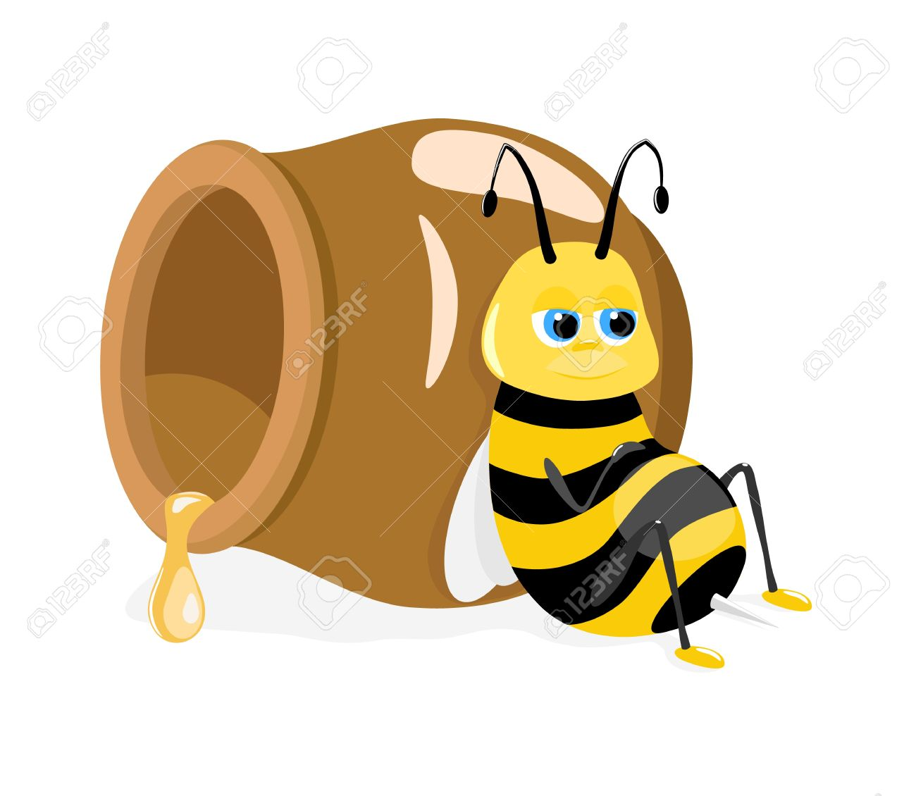 1300x1130 Vector Illustration Of Cartoon Bee Sitting About Honey Pot