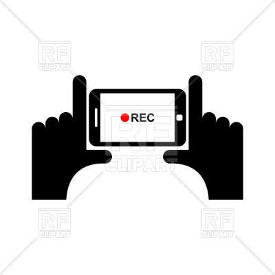 400x400 Horizontal Video Sign. Hand And Smartphone To Shoot Video Royalty