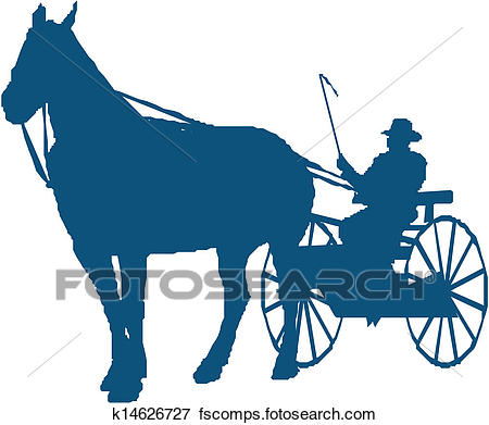 450x391 Clip Art Of Silhouette Of A Horse And Buggy K14626727
