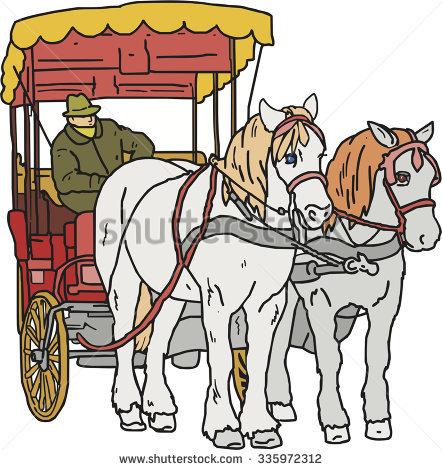 442x470 Horse Drawn Carriage Clipart Cartoon Horse