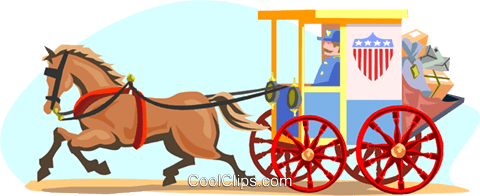 480x196 Horse Drawn Mail Carriage Royalty Free Vector Clip Art