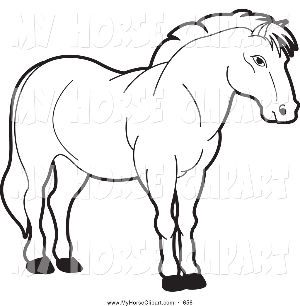 1024x1044 Clip Art Of A Black And White Horse By Lal Perera
