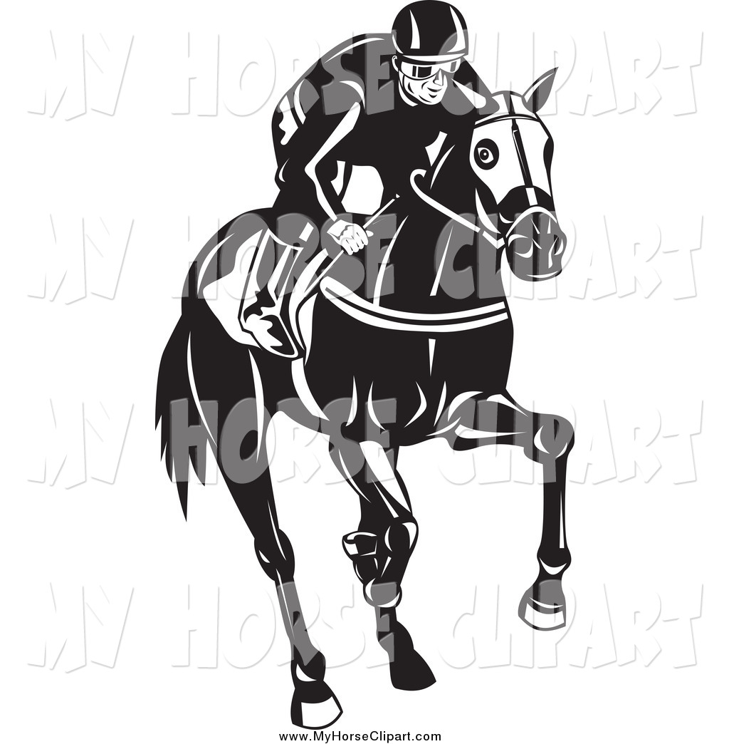 1024x1044 Clip Art Of A Black And White Jockey Racing On A Horse By