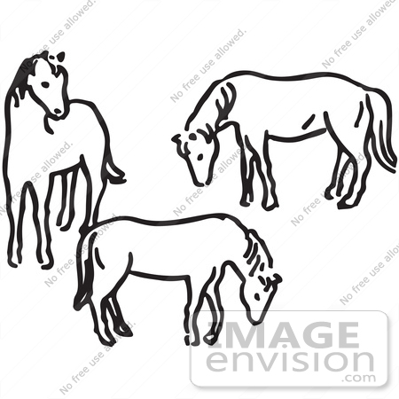 450x450 Clipart Of Three Horses In Black And White