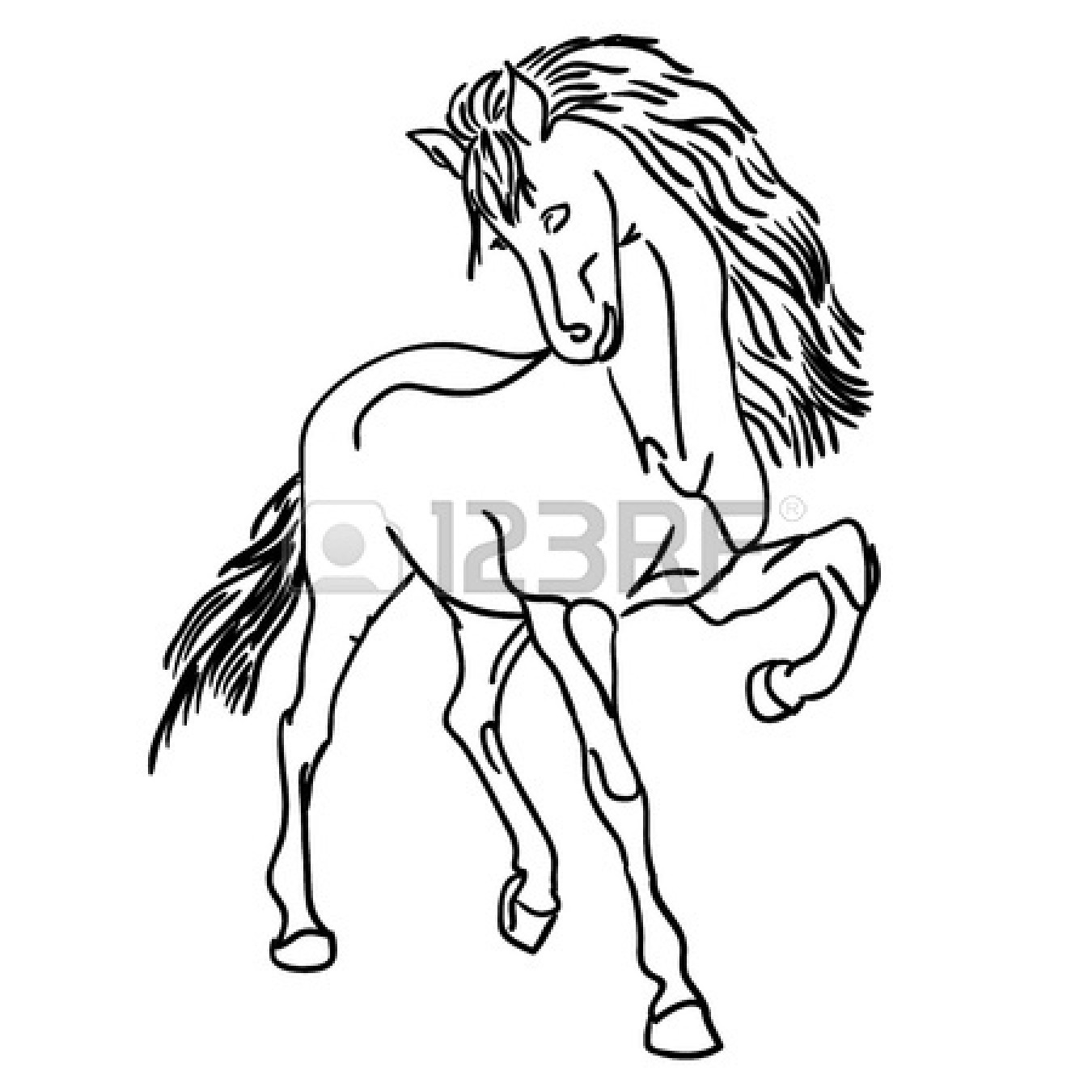 1350x1350 Vector Version Black Horse Silhouette Isolated On White