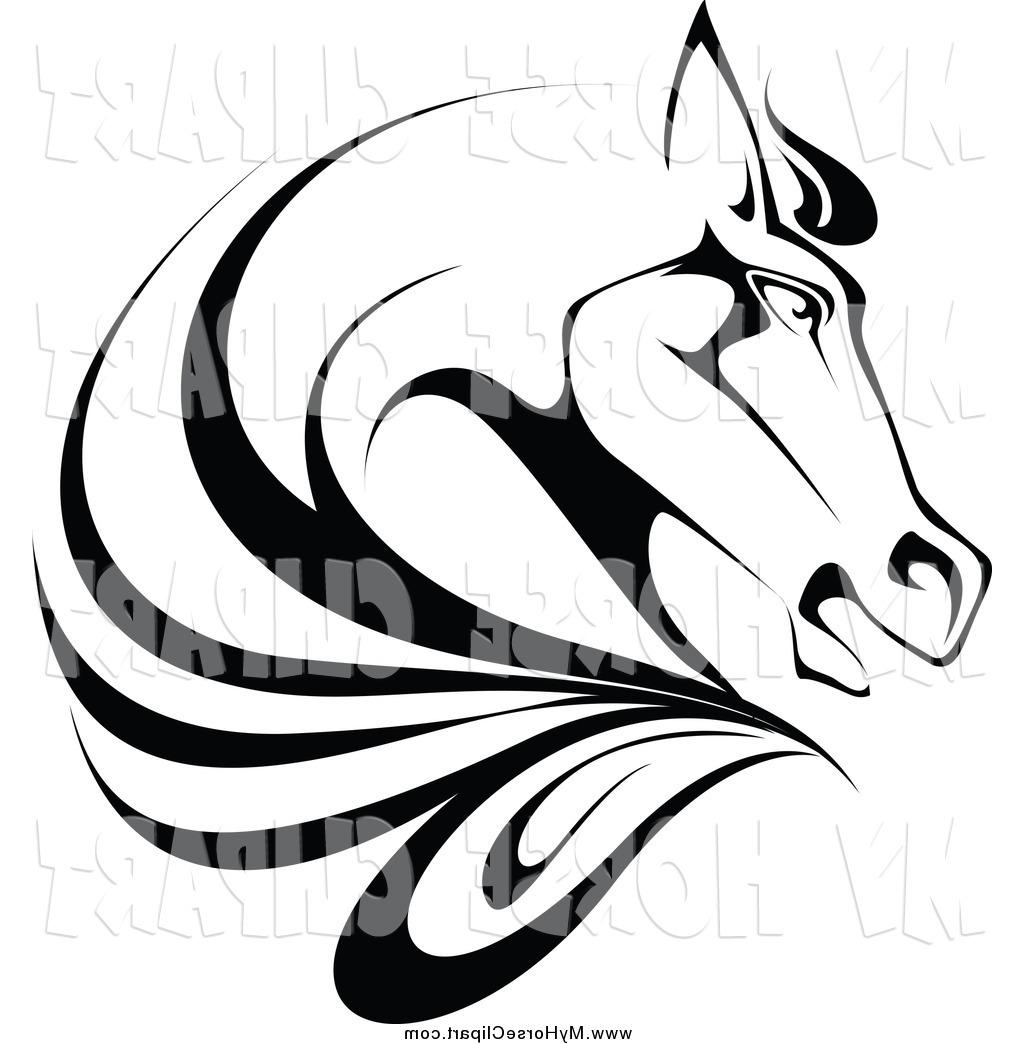 1024x1044 Best Free Clip Art Of Black And White Horse Head In Profile By