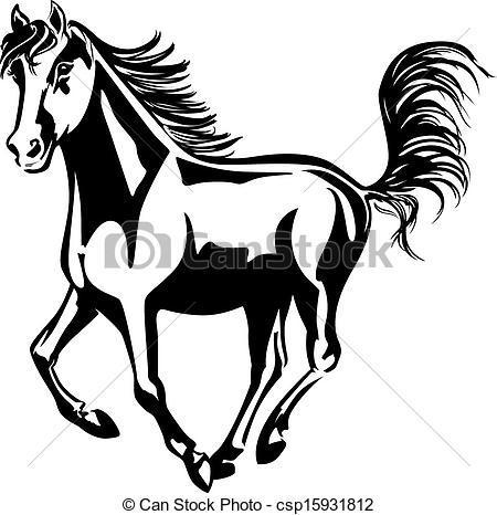 450x466 Drawn Horse Black And White