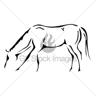 325x325 Galloping Horse In Black And White Outline Gl Stock Images