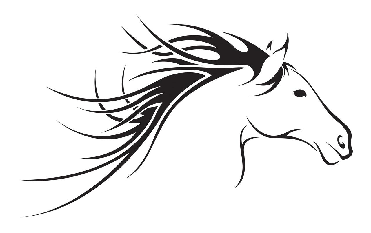1280x804 Hd Black And White Horse Head Clip Art File Free