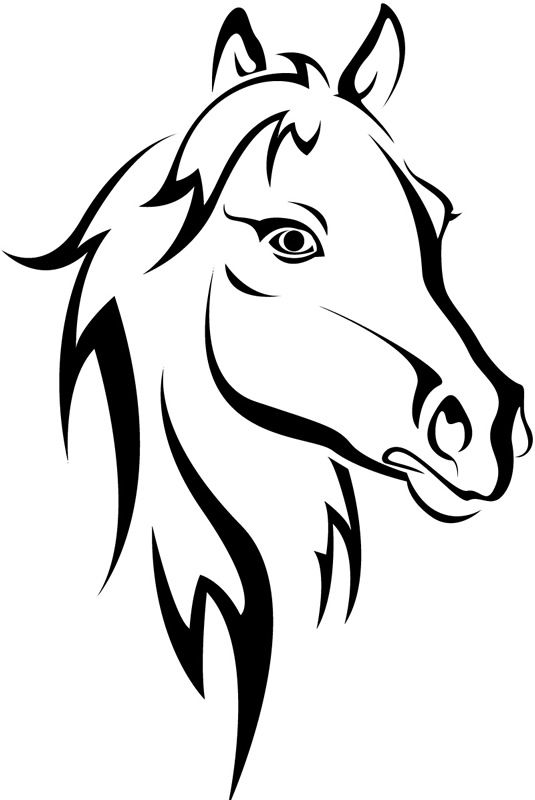 535x800 Horse Head Clipart Black And White