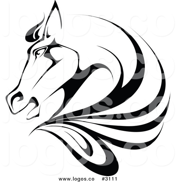 600x620 Royalty Free Black And White Horse Stock Logo Designs