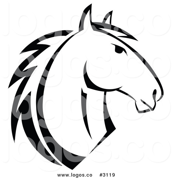 600x620 Royalty Free Vector Of A Black And White Horse Logo By Vector