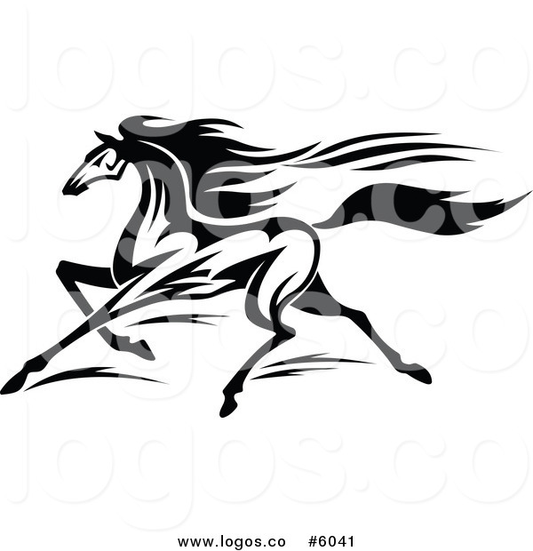 600x620 Royalty Free Vector Of A Logo Of A Black And White Horse Running