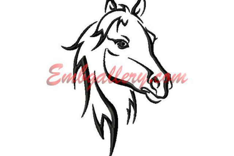 780x520 Black And White Horses Calm Machine Embroidery Design