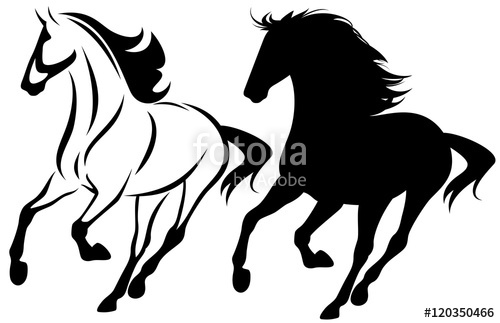 500x323 Running Horse Black And White Vector Outline Design And Silhouette