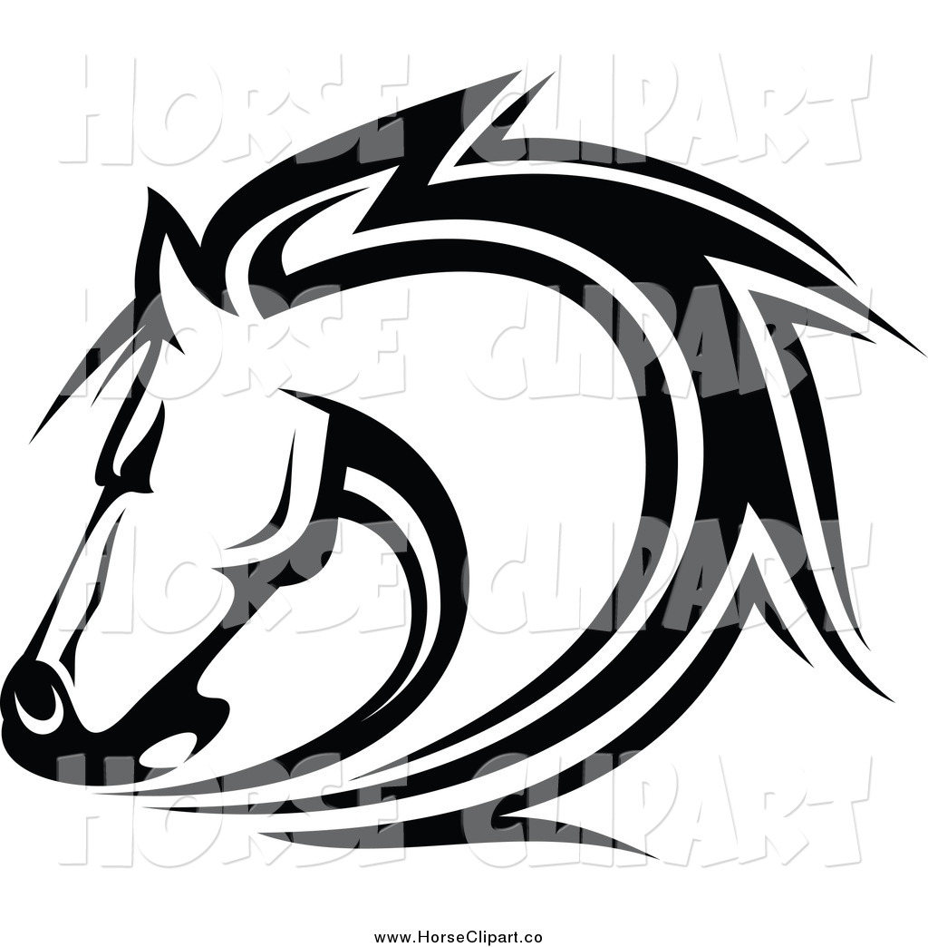 1024x1044 Clip Art Of A Black And White Horse Head By Vector Tradition Sm