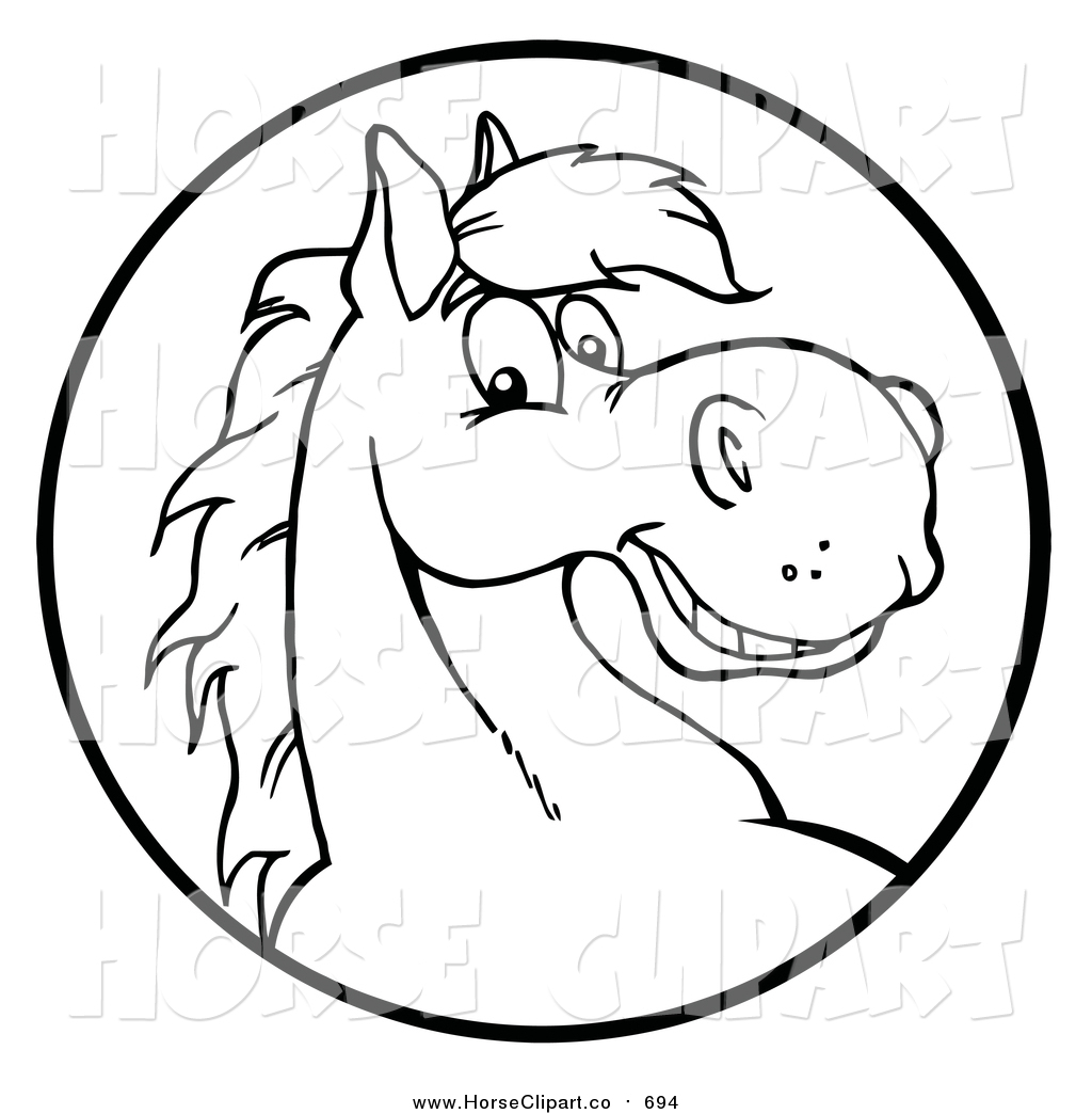 1024x1044 Clip Art Of A Happy Black And White Horse Face In A Circle By Hit