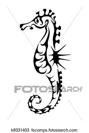 315x470 Clipart Of Sea Horse Black Silhouette. Tattoo K8331403